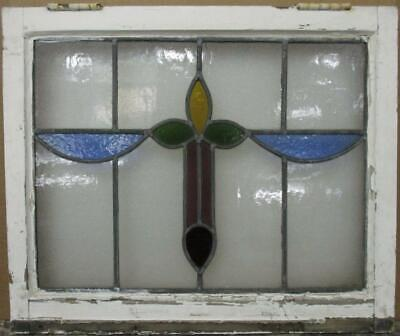 "MIDSIZE OLD ENGLISH LEADED STAINED GLASS WINDOW Colorful Abstract 23.25"" x 19.5"""