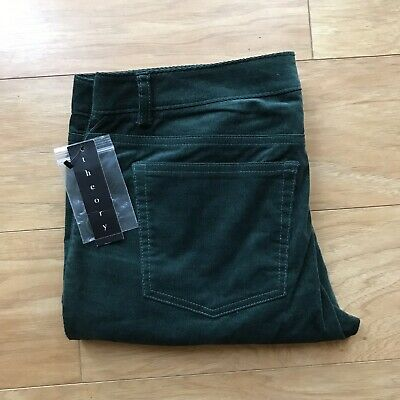 NWT THEORY Deep Green Cotton Corduroy Women's Pants Size 6 $225 MSRP
