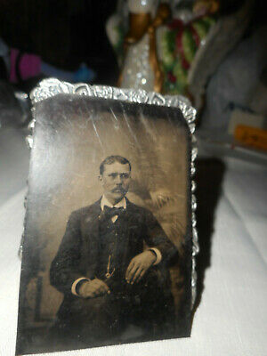 Antique Tintype Photos Of A Man In Sitting Pose, Mustache, Suit, Bow Tie, Tinted