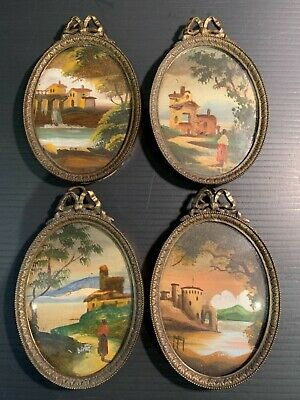 Set 4 Antique Miniature Oval Oil Painting on Copper by Bary Curved Glass & Frame