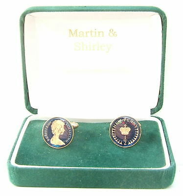 1971 Half Pence cufflinks from real coins in Blue &Gold