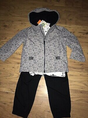 Boys Mini Me Grey Jacket Set Long Sleeve And Trousers Outfit AGE 2 YEARS New