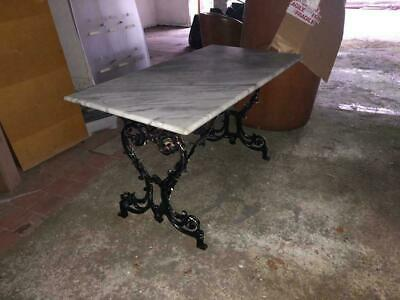 Beautiful Grey Marble Vintage Stone Table With Ornate Cast Iron Metal Legs