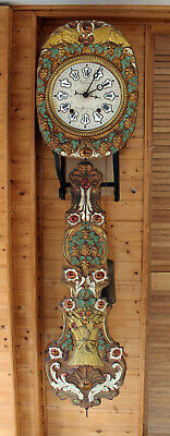ANTIQUE FRENCH 1860 MORBIER COMTOISE WALL CLOCK CHIME and BELL with DATE