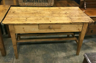 Charming Old Antique Victorian Stripped Pine Farmhouse Kitchen Table w/ Drawer
