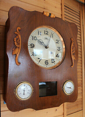 FRENCH MORBIER WALL CLOCK WITH THERMOMETER , BAROMETER and DOUBLE CHIME