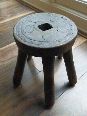 Vintage Rustic Farmhouse Wooden Stool/Plant Stand (5 legs)