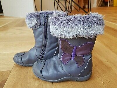 Clarks Purple Leather Girls Boots Size Infant 7.5F/Euro 25