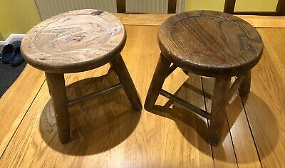 Pair of Antique Victorian Elm  Milking Stools.