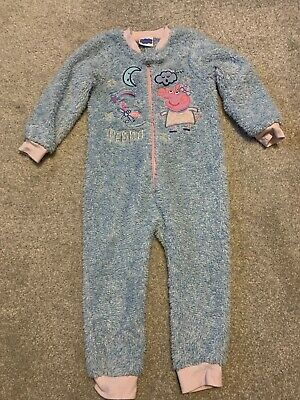 Peppa Pig Girls All In One Soft Fluffy Winter Sleepsuit / Pj's Age 2-3 Years