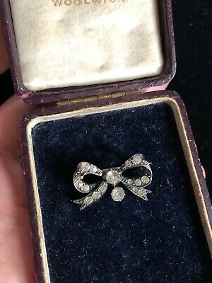 Antique Georgian Sterling Silver And Paste Bow Brooch Ribbon