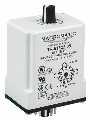 Macromatic SS-60522 Solid State Time Delay Relay 120v ac//dc 10a DPDT 10 amp Nnb