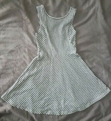 Girls 7-8 Years M&s Grey And White Striped Dress