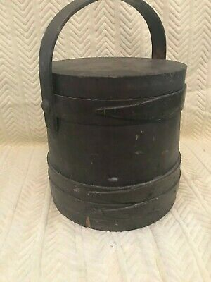 Early Antique Wooden Original Paint Covered Firkin Swing Handle Sewing Box AAFA