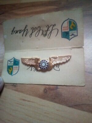 Vintage 1950s Chinese Air Force Pilot Wings on Original Placard *Rare*