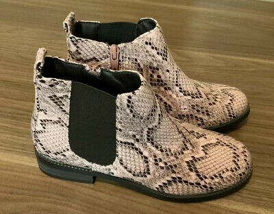 Next Girls Pink Snakeskin Ankle Boot Zip  Size 2  Faux Leather BNWT New