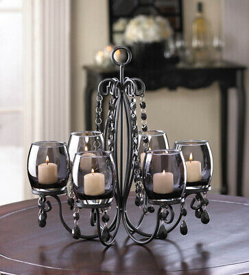 MIDNIGHT ELEGANCE 6 SMOKE GLASS CANDLE CUP CHANDELIER ** NIB