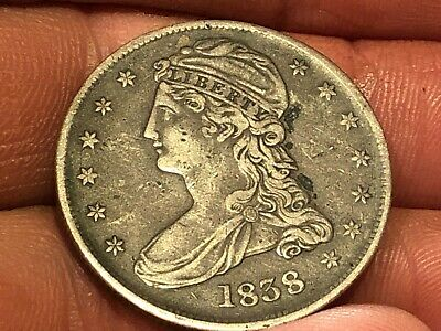 1838 Reeded Edge Capped Bust Half Dollar 50 Cent US Coin original toned type