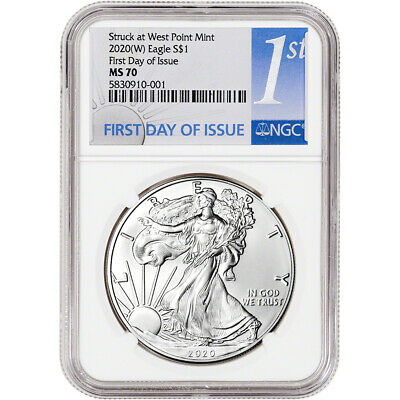 2020-(W) American Silver Eagle - NGC MS70 - First Day of Issue - 1st Label