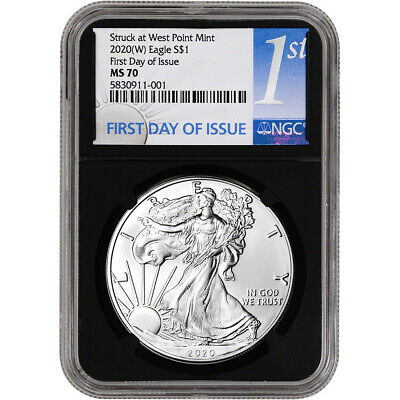 2020-(W) American Silver Eagle - NGC MS70 - First Day of Issue - 1st Label Black