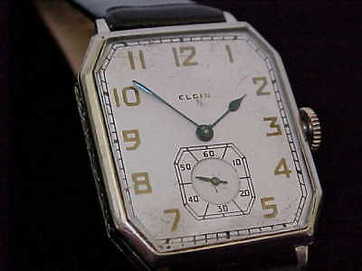 Early Art Deco Man's Elgin In White Gold Case Just Serviced Nice Timepiece