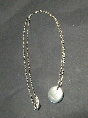 """Tiffany & Co Initial """"Z"""" Round Disc Charm 16in Necklace 925 Sterling Silver"""