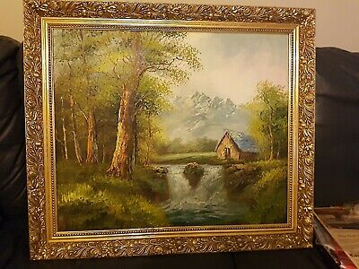 Bardeen Oil Painting framed Landscape Trees Shed