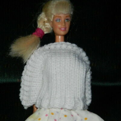 Handmade Sweater fits Barbie and other similar dolls Fuchsia  great ornament too