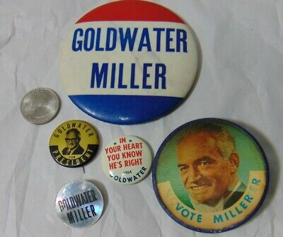Goldwater Miller Republican Vintage 1964 Campaign Button Lot of 5 Political