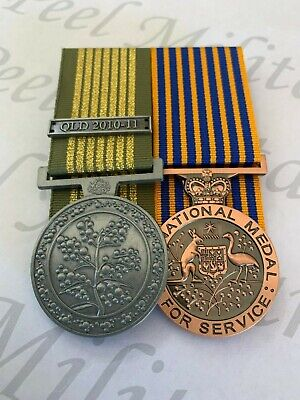 Aust. National Emergency Medal (QLD 2010 -11) Clasp + National Medal Replica Set