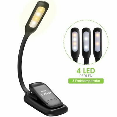 Mini LED Eye Care USB Rechargeable Stand lamp Clip On Bed Reading Book Lamp