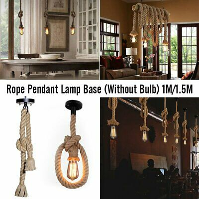 E27 Industrial Vintage Hemp Rope Hand Knitting Ceiling lamp  Pendant Hanging LL