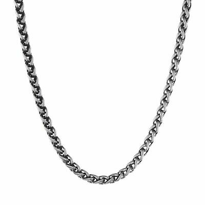 Men/'s Women/'s Stainless Steel Necklace Wheat Chain Link Silver Tone 3.0-6.0mm