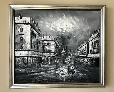 Framed oil painting on canvas of old time street scene