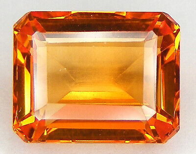 8,09CT. TRES BEAU LUSTRE T. EMERAUDE 12,4x9,9 MM. SAPHIR ORANGE DE SYNTHESE