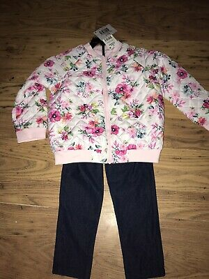 Girls Mini Me Floral Bomber Jacket With Matching Outfit AGE 3 Years New