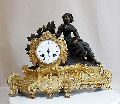 ANTIQUE 1855 FRENCH CLOCK BRONZE SPELTER STATUE ROMANTIC movement JAPY FRERES