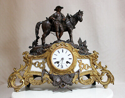 Antique 1855 French Clock Bronze Alabaster Spelter Statue Romantic Japy Freres