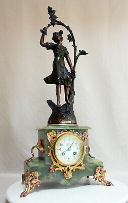 Heavy ONYX Art Nouveau French Clock 1900 statue RUCHOT movement AD MOUGIN