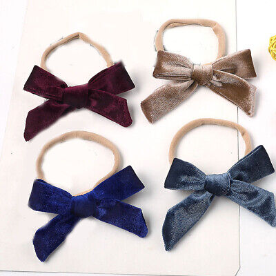 Baby Girl Soft Velvet Bowknot Headband Toddlers Hair Band Clip Hair Holder Clips