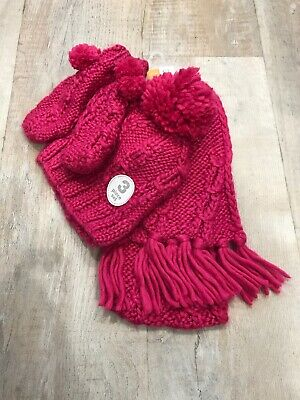 Next Girls 3 Piece Hat Mittens Scarf Pink Bobbles New Glittery Age 7-10