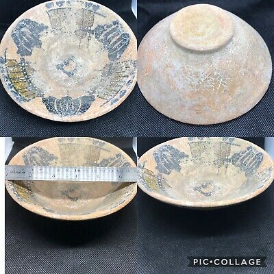 Rare wonderful old khurasan empire excellent old ceramic bowl  with building pic