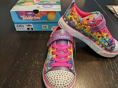 NIB Twinkle Toes By Skechers Stylish Smiles Girl's Sneakers Size 4