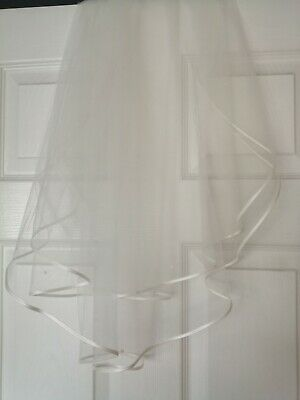 2 Tier Crystal Bridal Wedding Veil with Comb Elbow length Satin Edge White/Ivory