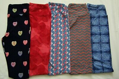 Lot of 5 LuLaRoe One Size Leggings - Hearts, and Others