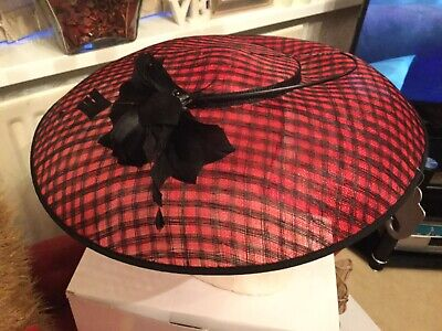 New Unused Linea Red And Black Fascinator