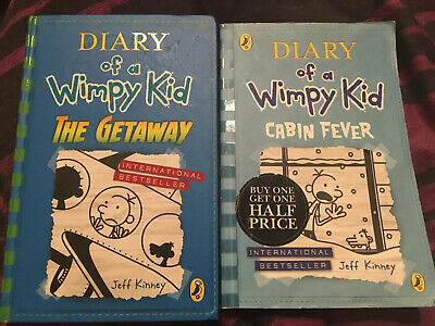 Diary Of A Wimpy Kid, Jeff Kinney X 2 Books, Pre Owned The Getaway Cabin Fever
