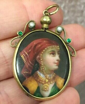 Antique Victorian Beautiful Hand Painted Prince Cameo Pendant Real Pearls