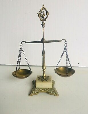 Vintage French Style Ornate Brass/ Bronze  Scales of Justice Balance Marble Bse