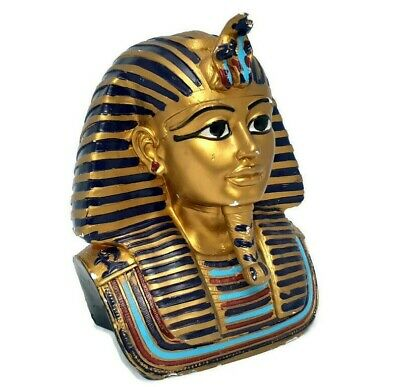Large Golden Cobra &Vulture Names Tutankhamun Pharaoh Egyptian King Bust -Statue